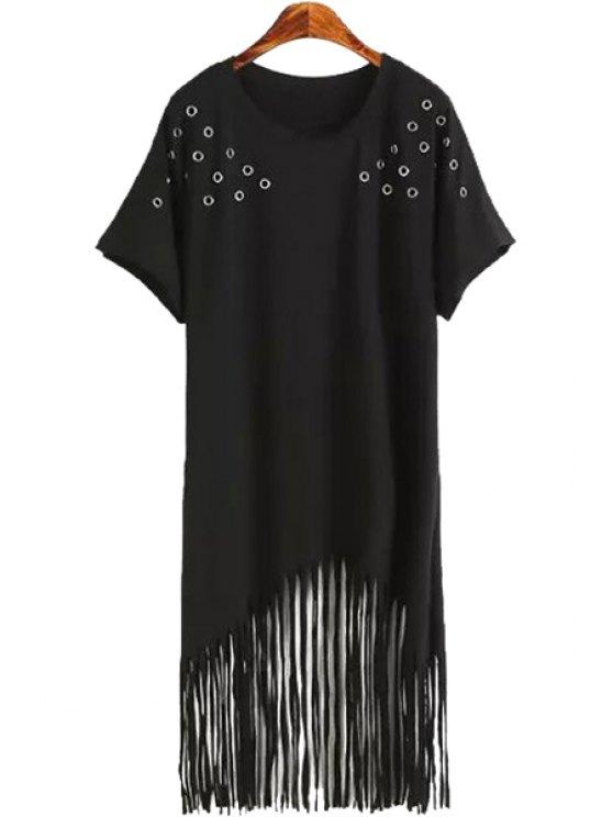 new Tassels Spliced Short Sleeve Dress - BLACK M