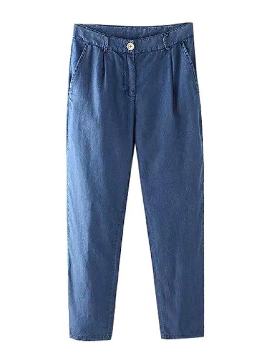 ladies Bleach Wash Loose-Fitting Jeans - DEEP BLUE S