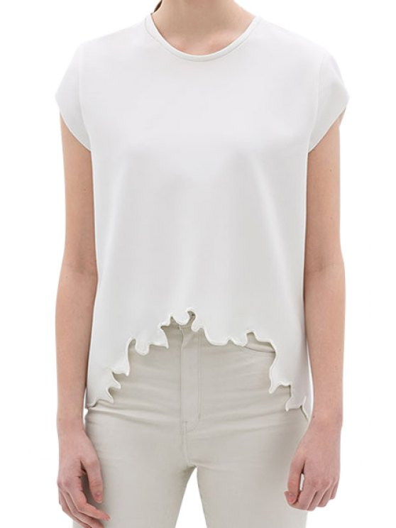 shop Solid Color Embroidery Short Sleeve T-Shirt - WHITE S