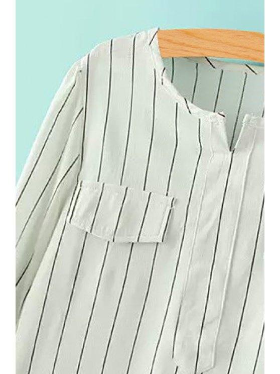 V-Neck Striped Long Sleeve Shirt - BLACK M Mobile