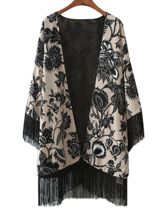 new Floral Print Long Sleeve Tassels Blouse - BLACK S