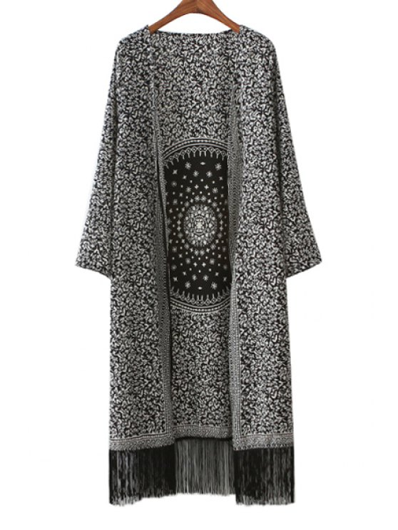 online Long Sleeve Print Tassels Coat - BLACK S