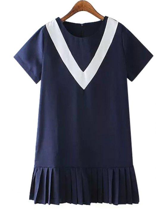 hot Pleated Splicing Short Sleeves Dress - PURPLISH BLUE S
