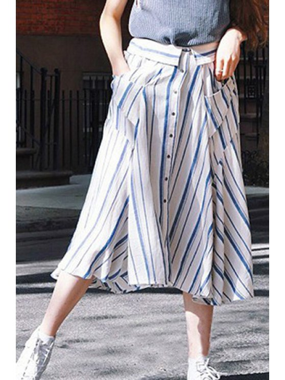 ladies Striped Two Pockets Single-Breasted Bohemian Skirt - BLUE AND WHITE S