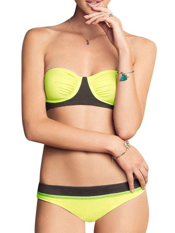 womens Strapless Yellow Black Openwork Bikini Set - YELLOW S