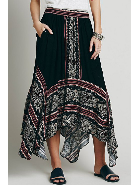 online Ethnic Pattern Irregular Hem Embroidered Skirt - BLACK ONE SIZE(FIT SIZE XS TO M)