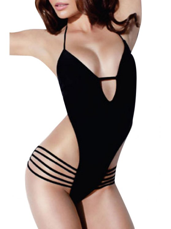 fashion Halter Neck Tie-Up Backless Solid Color Swimwear - BLACK S