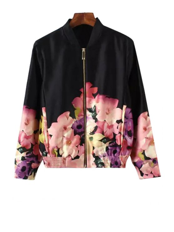 women Flower Print Stand Collar Jacket - BLACK S