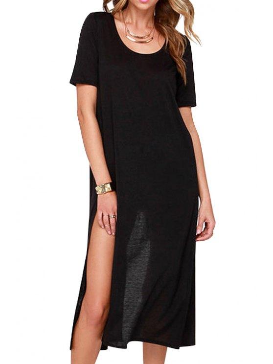 unique Back High Slit Solid Color Short Sleeve Dress - BLACK ONE SIZE(FIT SIZE XS TO M)