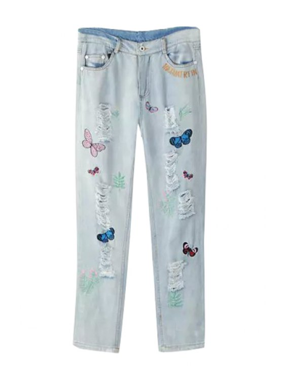 fashion Butterfly Embroidery Straight Leg Jeans - LIGHT BLUE S
