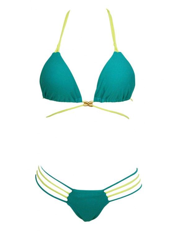 fancy Halter Neck Tie-Up Green Bikini Set - GREEN S