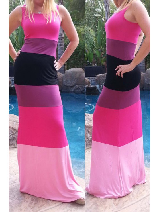 shop Round Neck Color Block Slimming Maxi Dress - ROSE S