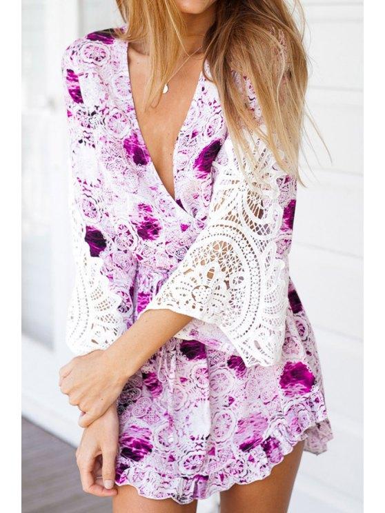 women's Floral Print Lace Splicing Long Sleeve Romper - PURPLE S