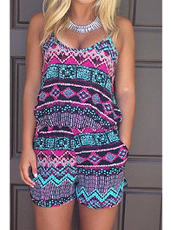 chic Spaghetti Strap Color Block Argyle Sleeveless Romper - AS THE PICTURE S