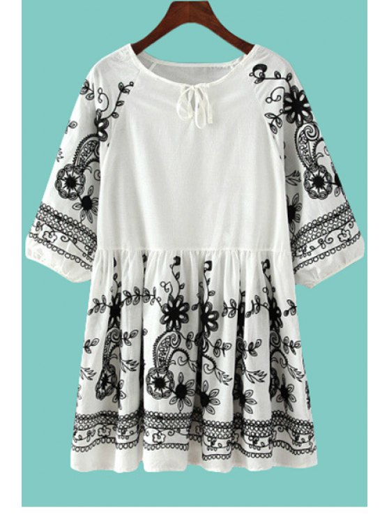 lady Tie-Up Black Floral Embroidery Half Sleeve Dress - WHITE AND BLACK ONE SIZE(FIT SIZE XS TO M)