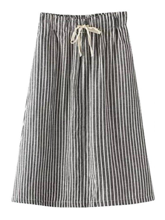 chic Stripe Tie-Up Back Pocket Skirt - BLACK S
