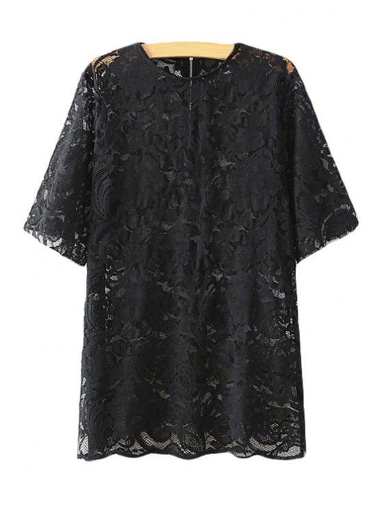 chic Floral Pattern Lace Short Sleeve T-Shirt - BLACK S
