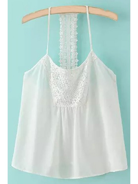 shop Spaghetti Strap Lace Splicing Backless Tank Top - WHITE S