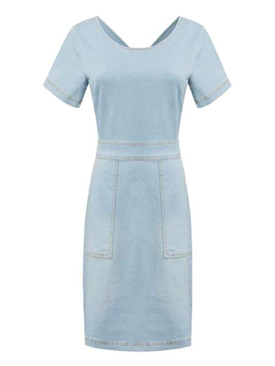 affordable Solid Color Backless Denim Dress - LIGHT BLUE S