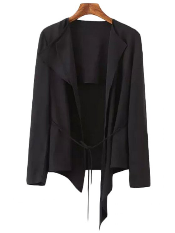 hot Tie-Up Asymmetrical Long Sleeve Blazer - BLACK S