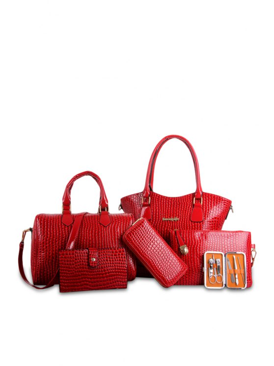 best Crocodile Print Patent Leather Shoulder Bag - RED