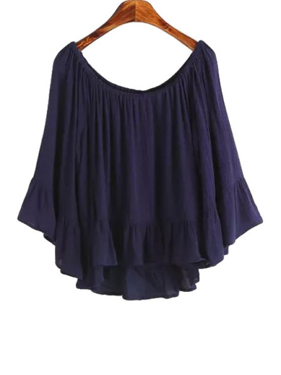 trendy Solid Color Flounce Long Sleeve Shirt - PURPLISH BLUE S