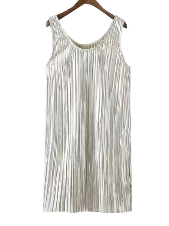 new Solid Color Sequins Sundress - OFF-WHITE S
