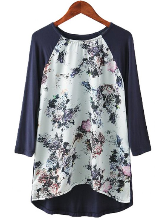 ladies Floral Print Splicing Long Sleeve T-Shirt - COLORMIX S