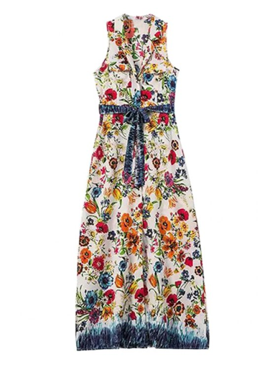 best Floral Lapel Sleeveless Maxi Dress - AS THE PICTURE S