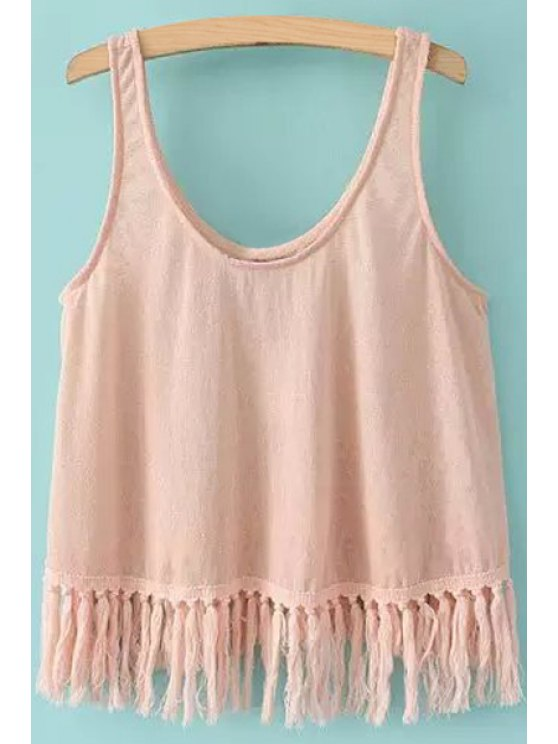 fancy Scoop Neck Solid Color Tassel Tank Top - PINK S