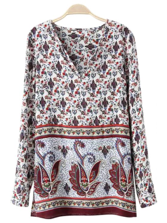 affordable Floral Print Side Slit Long Sleeve Shirt - AS THE PICTURE S