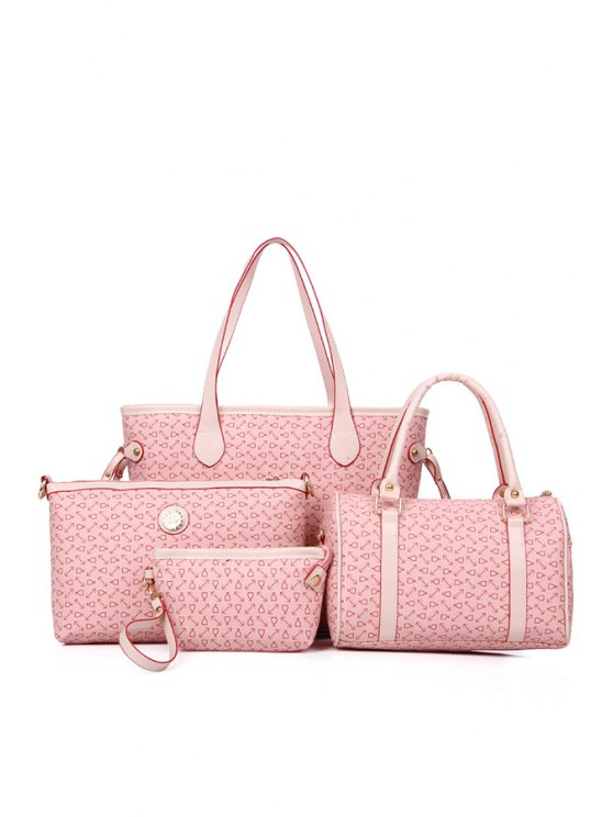 ladies Printed Rivets Belts Shoulder Bag - PINK