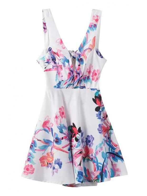 new Flower Print Plunging Neck Sleeveless Dress - WHITE S