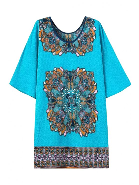 womens Color Block Printed Short Sleeve Dress - AS THE PICTURE S