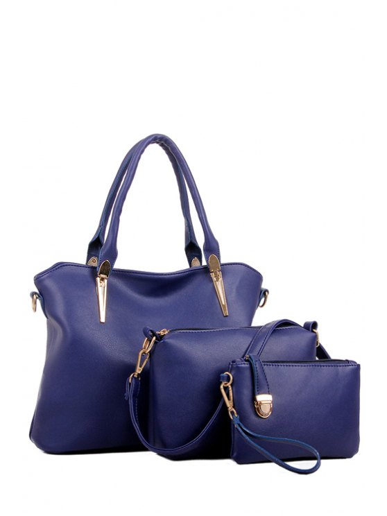 online Solid Color Zipper Metal Tote Bag - DEEP BLUE