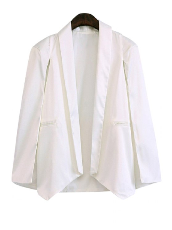 shop Shawl Collar Solid Color Asymmetrical Long Sleeve Blazer - WHITE XS