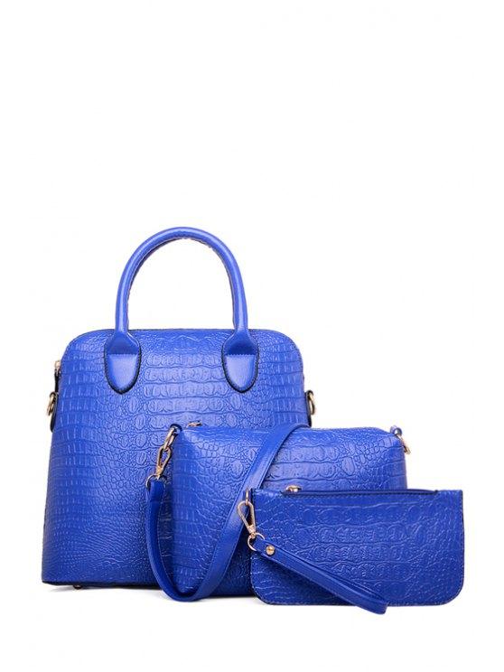 outfit PU Leather Crocodile Print Tote Bag - BLUE