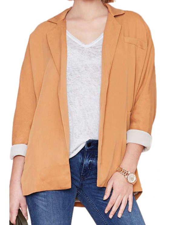 fancy Orange Lapel Long Sleeve Blazer - ORANGE S