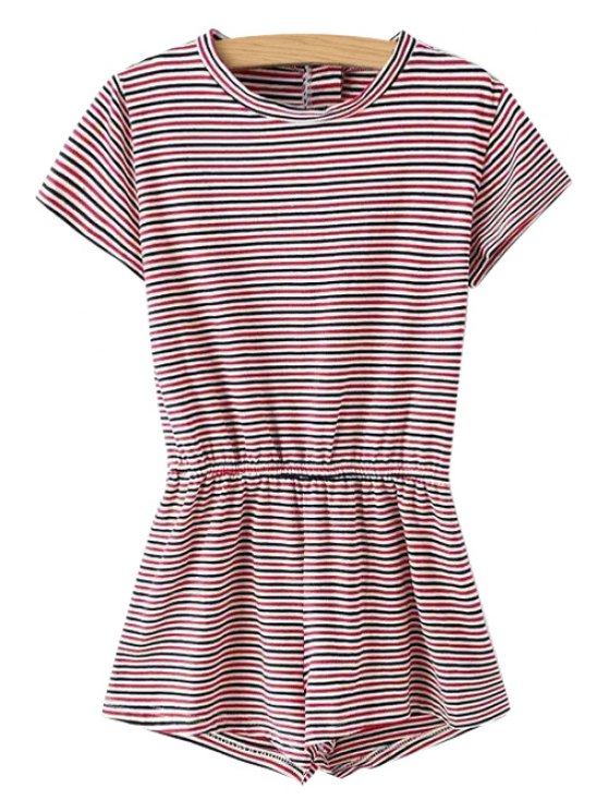 fancy Stripe Elastic Waist Short Sleeve Romper - RED S