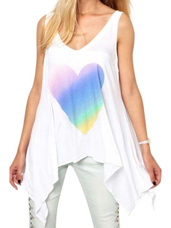 shop Heart Print V Neck Tank Top - WHITE S