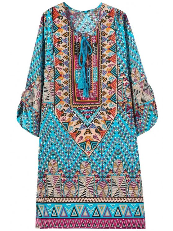 new Floral Geometric Print 3/4 Sleeve Dress - WATER BLUE S