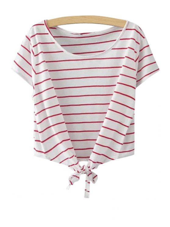 online Stripe Tie Knot Short Sleeve T-Shirt - RED ONE SIZE(FIT SIZE XS TO M)