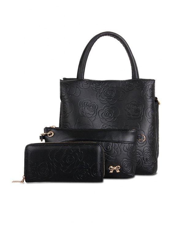 trendy Embossing Flowers Pattern Zipper Tote Bag - BLACK