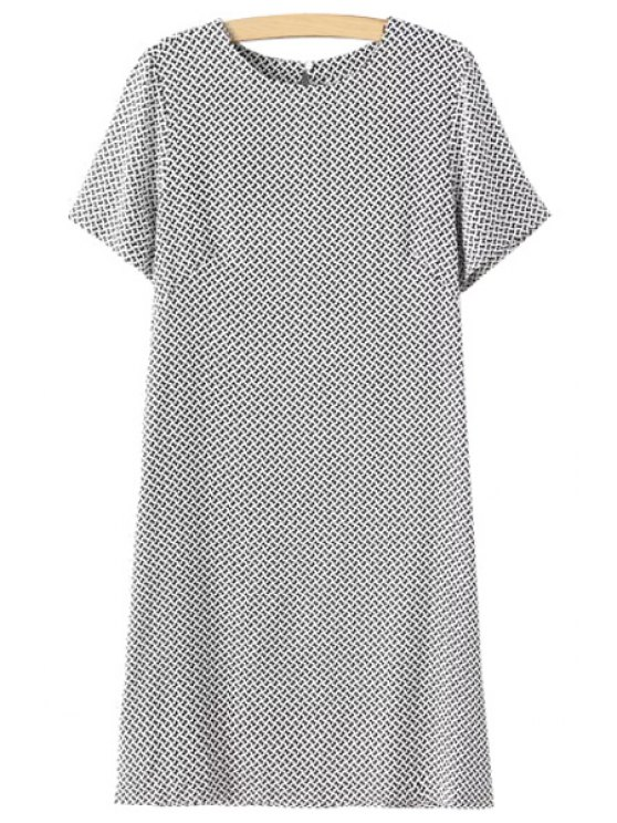 hot Jewel Neck Butterfly Print Short Sleeve Dress - WHITE AND BLACK M