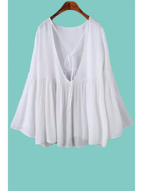 hot Solid Color Ruffle Tie-Up Long Sleeve T-Shirt - WHITE S