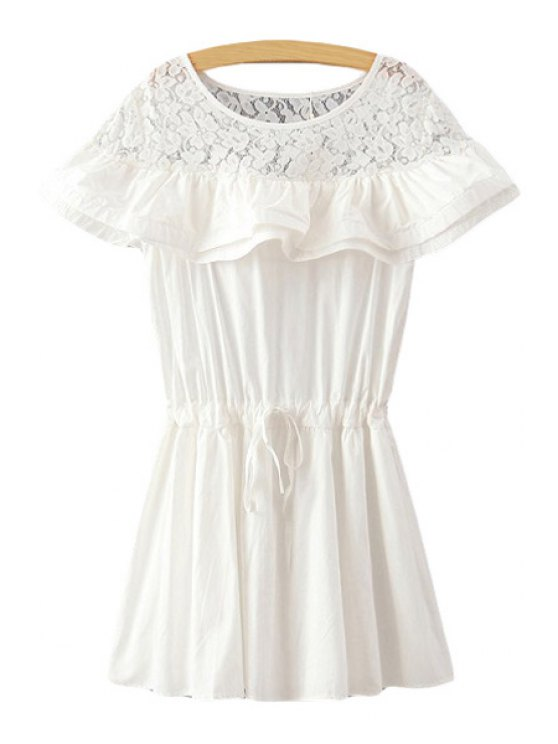 chic Lace Splicing Flounce Short Sleeve Dress - WHITE ONE SIZE(FIT SIZE XS TO M)