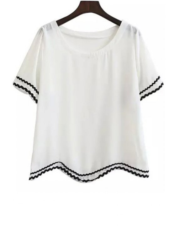 fashion Color Block Striped Short Sleeve T-Shirt - WHITE ONE SIZE(FIT SIZE XS TO M)