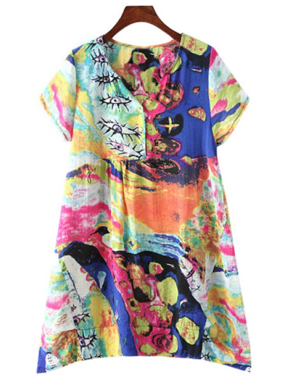 women's V-Neck Multielement Print Button Design Dress - COLORMIX L
