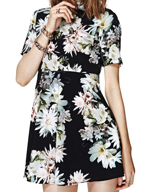 online Flower Print Turtle Neck Open Back Dress - AS THE PICTURE 2XL