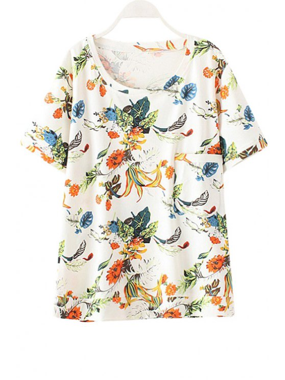 affordable Round Neck Floral Print Pocket Design T-Shirt - WHITE ONE SIZE(FIT SIZE XS TO M)